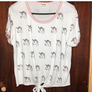 French Pastry unicorn front tie shirt XL